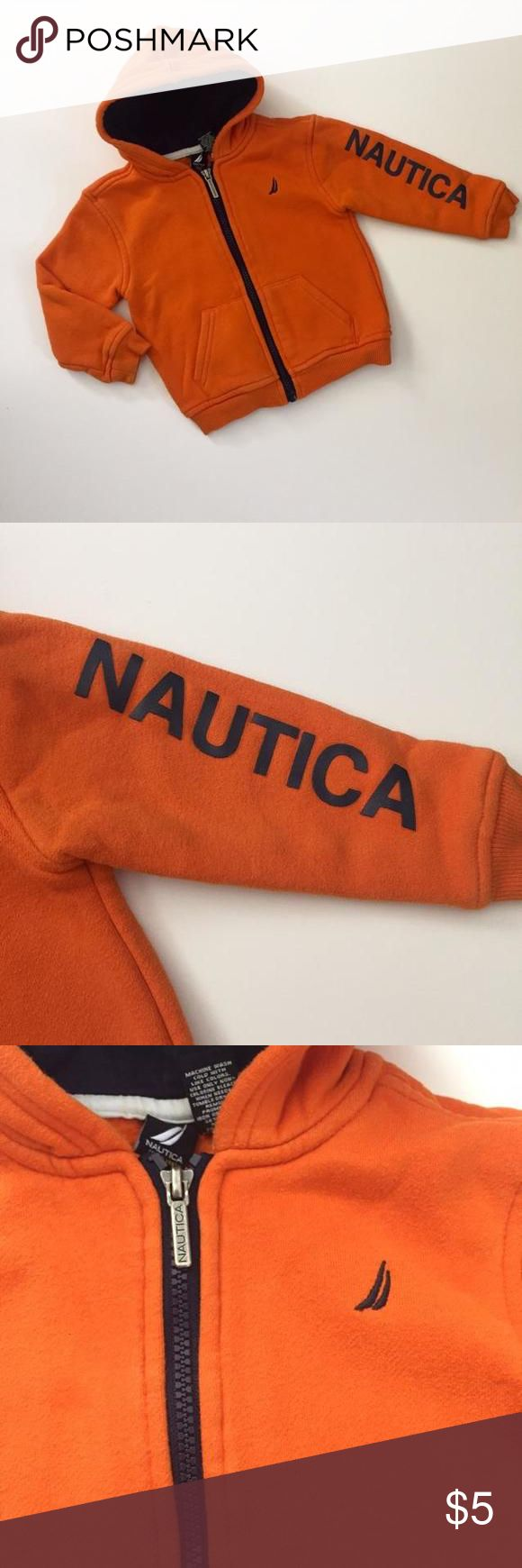 Nautica orange zip up hooded sweatshirt with logo down the side of the arm Gently used in good condition. Has a small very light spot as shown and some slight fuzzies from normal wash and wear Nautica Shirts & Tops Sweatshirts & Hoodies