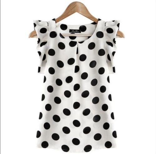Fashion-Women-Casual-Chiffon-Polka-Dot-Blouse-Short-Sleeve-Shirt-Summer-Tops