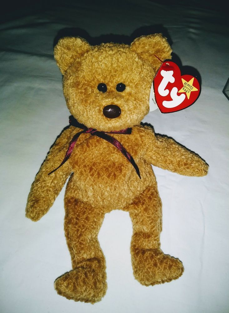 2cf4a9e5cf8 RARE RETIRED CURLY THE BEAR ORIGINAL BEANIE BABY TY TAG SEVERAL TAG ERRORS   Ty