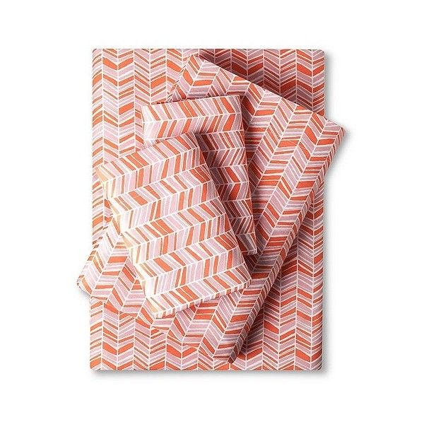Room Essentials Easy Care Sheet Set - Coral Chevron ($14) ❤ liked on Polyvore featuring home, bed & bath, bedding, bed sheets, pink, pink pillowcase, chevron twin bedding, twin flat sheets, pink chevron bedding and chevron bedding