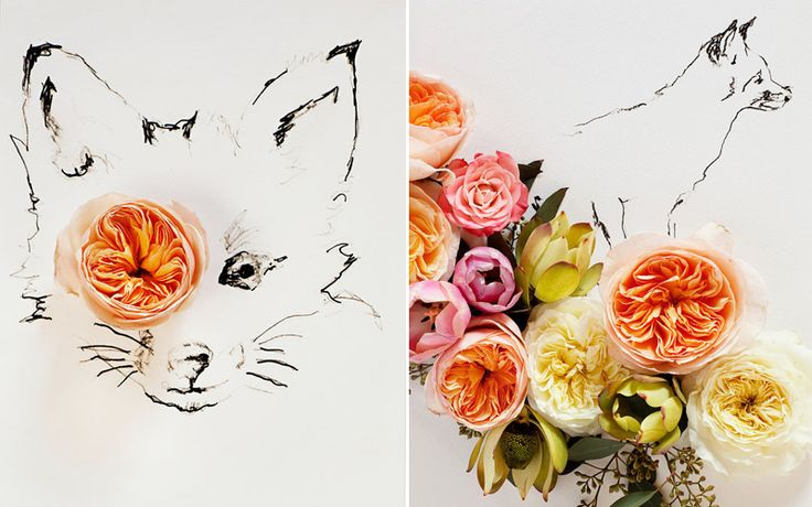 Kari Herer - love the flowers & little foxes. Would be cool to embroider.