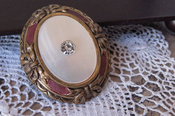 Vintage Brooch Oval Mother of Pearl by CreativeWorkStudios on Etsy
