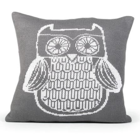 Oscar Knitted Owl Cushion #Grey #Cushion #Owl