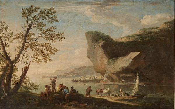 jacob de heush Soldats conversant près d'un rocher