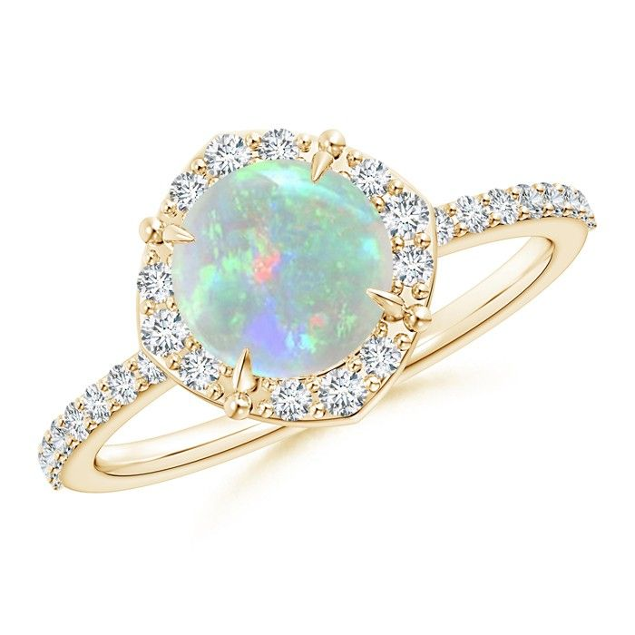 Angara Pear Cabochon Opal Split Shank Solitaire Ring in 14k Yellow Gold fOqfHph