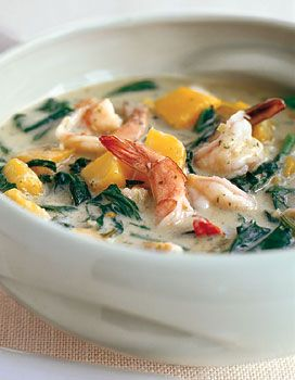 This will warm you up on a weeknight! Shrimp Curry with Yu Choy and Kabocha Squash