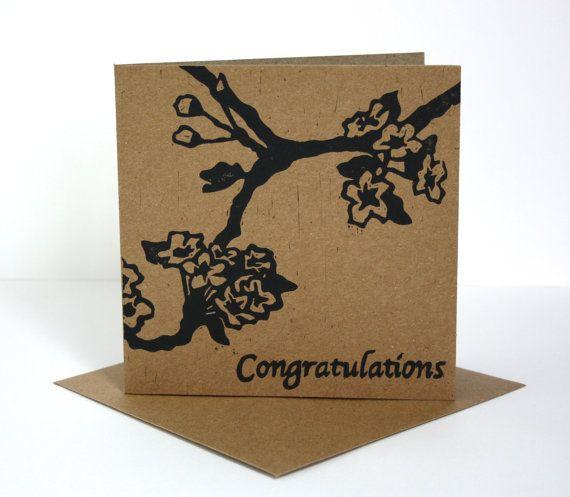 Linocut Print Card  Cherry Blossom Congratulations Card.