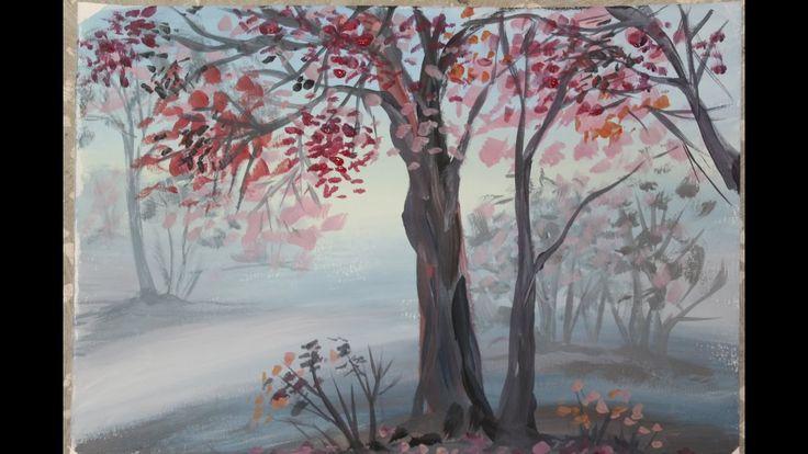 Осенний пейзаж поэтапно для детей. Деревья в тумане. Рисование осеннего ...