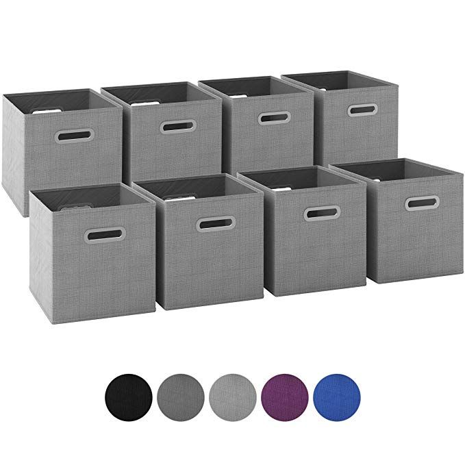 Royexe Storage Cubes Set Of 8 Storage Baskets Features Dual Plastic Handles Cube Storag Cube Storage Bins Closet Shelf Organization Drawer Organizers