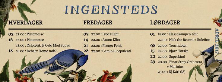 Program for April 2017  Ingensteds, Oslo.   Birds, art, posters.