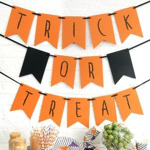 Halloween Trick Or Treat Party Bunting - Turn your happy home into a haunted mansion or spooky space with the help of our Halloween decorations. We can help you create a killer kitchen, doomed dining room and frightening foyer. Fill your home with orange and black decorations and really embrace the spookiest party of the year.