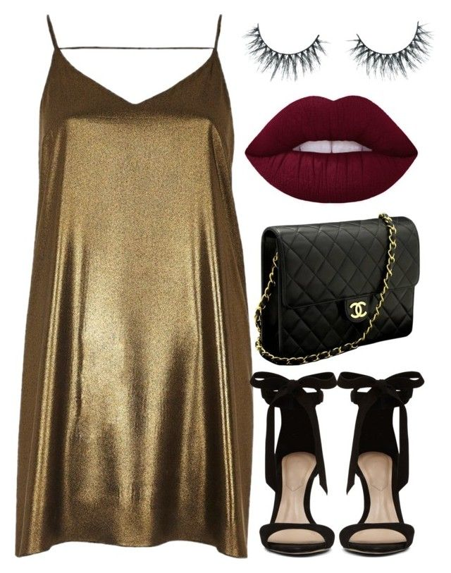 """""""I love gold (Trisha Paytas Voice) ✨"""" by kybeauty1 ❤ liked on Polyvore featuring River Island, ALDO, Chanel and Unicorn Lashes"""