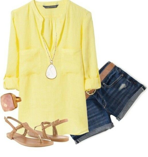 Our Fortuna Stone Pendant in gold would go great with this outfit #SDsummer