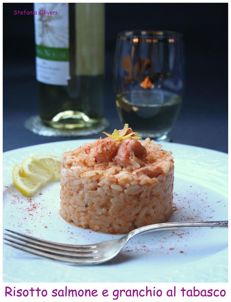 Risotto al salmone e polpa di granchio/Risotto with salmon and crabmeat