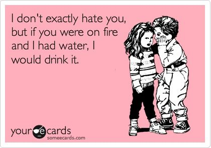 i don't exactly hate you, but if you were on fire and i had water, i would drink it