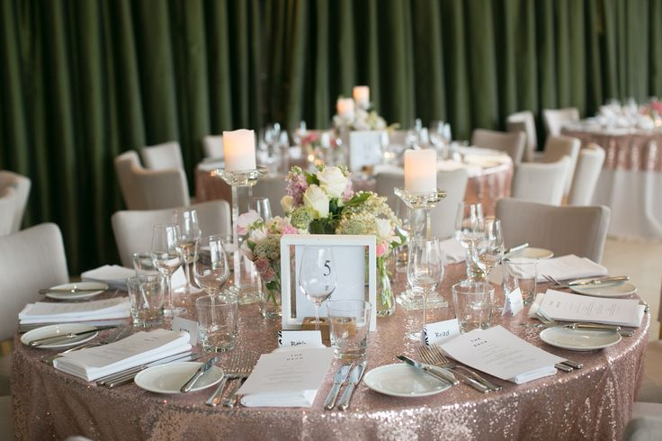 Centrepiece    Simple floral complimented by crystal candle holders and rose gold sequin table linen     Wedding styling    Wedding decor     Reception styling     Reception decor     Wedding floral