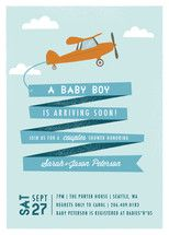 Airplane News Stream Baby Shower Invitations by Ka... | Minted