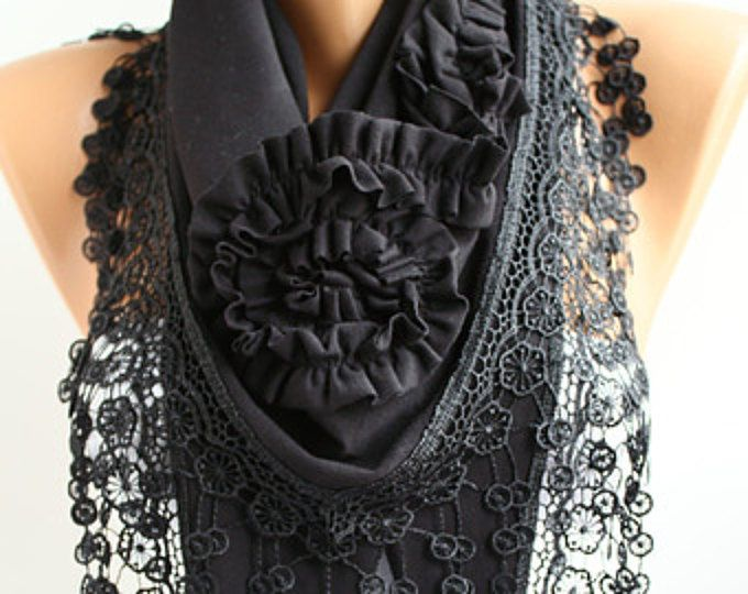 Black Rose sjaal sjaal - Jersey sjaal hoofdband Cowl Sjaal met kantwerk Trim - Lace sjaal Gift - DIDUCI