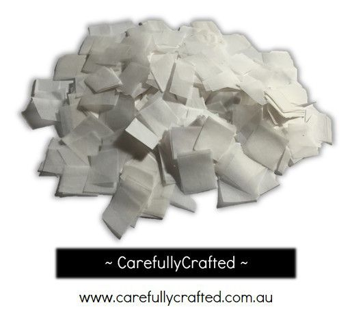CarefullyCrafted - 25 Grams Tissue Paper Confetti - White - 0.75 inch Squares  - wedding, wedding planning, party, party decoration, decoration, décor, white confetti, square confetti, solid white, paper pieces, tableware, confetti mix http://carefullycrafted.com.au/25-grams-tissue-paper-confetti-white-0-75-inch-squares-cs2/