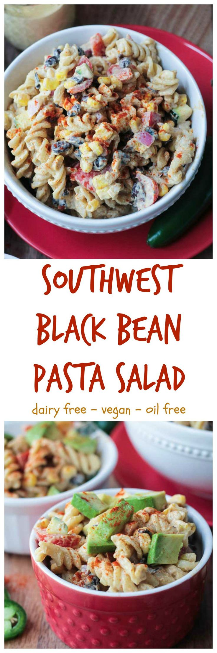 Southwest Black Bean Pasta Salad - the perfect flavorful salad for all your summer BBQ's. It's super creamy with just a bit of a kick from jalapeño blended into the dairy free, oil free dressing. All of your favorite Mexican flavors packed inside a healthy pasta salad. Bring it to any party or potluck and don't plan on bringing any leftovers home!