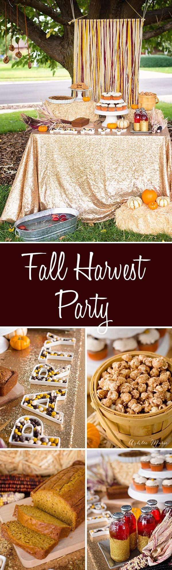 A Fall harvest party celebrating all things Fall, pumpkin bread, apple pie, cinnamon toast popcorn, pecan pie M&M's® cupcakes and more. Easy to put together with decorating tips and activities #BakeInTheFun #Ad