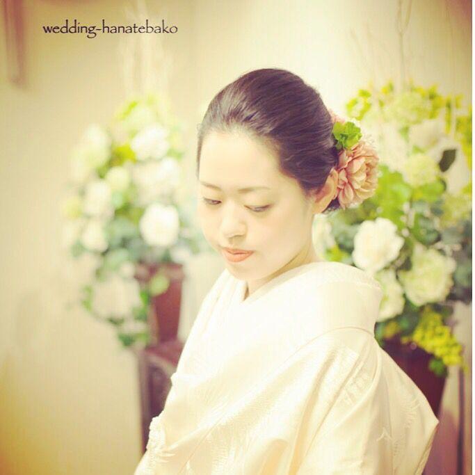 髪飾りをお作りしました。 この色、水柿いろっていうのです。  wedding-hanatebako