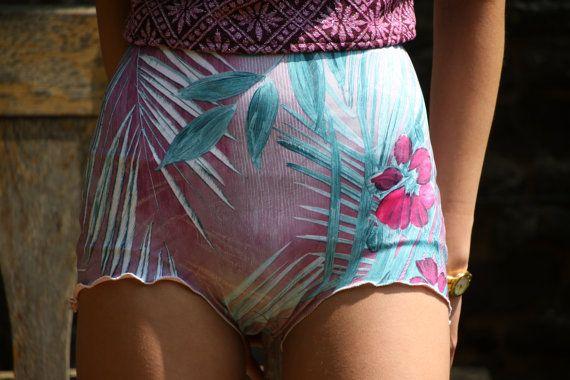 tropique <>Tropical high waisted bikini shorts knicker shorts by BOODWAH