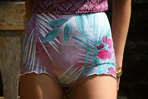 These are high waisted retro style bikini bottoms/ shorts. The outer is a silk touch lycra with a pearlised sheen. They are fully lined and the legs are