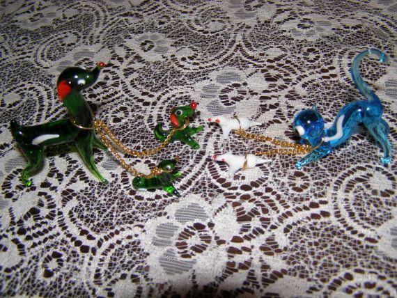 Murano glass animals cats/kittens dogs/ miniatures by Mpoulitsa