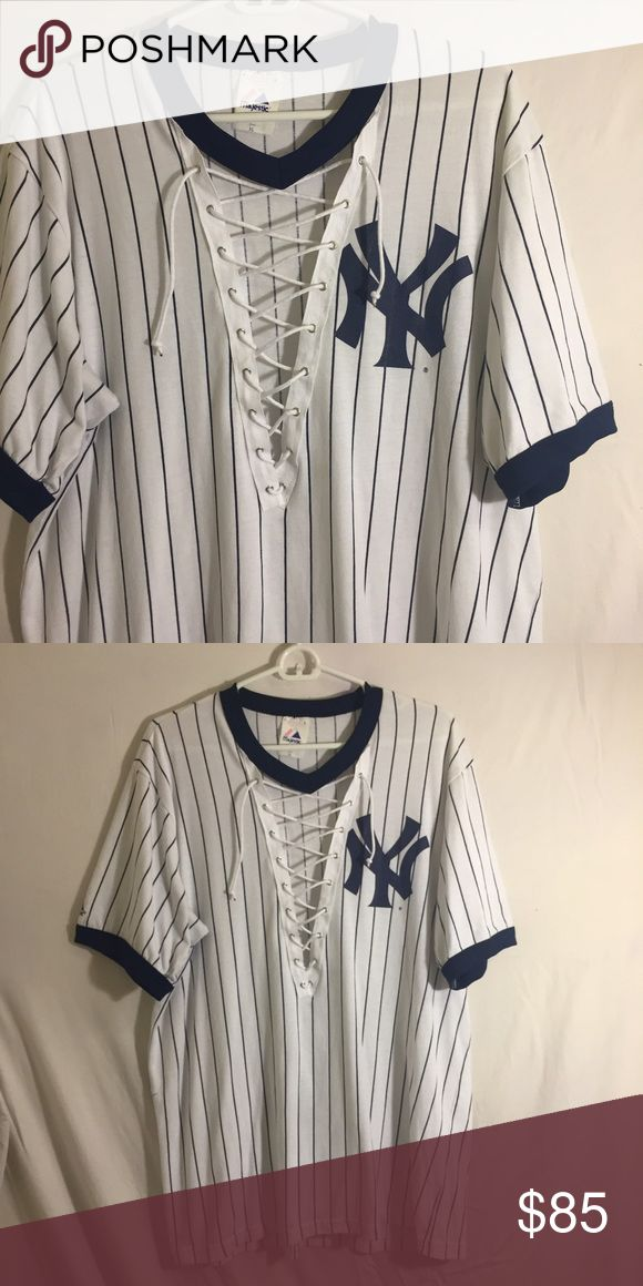 New York Yankees lace up ringer tee Hand made with love by me  price firm unless bundled. Similar to LF. LF Tops Tees - Short Sleeve