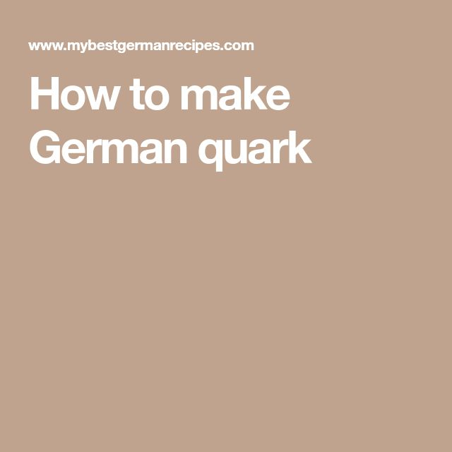 How to make German quark