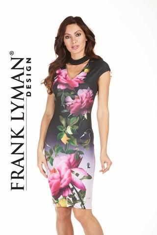 Frank Lyman 2017. Stunning floral scuba knit dress with stylish choker neckline. Proudly Made in Canada