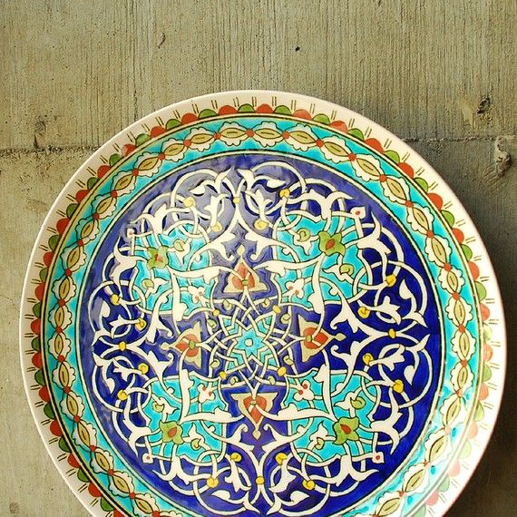 Vintage Turkish Hand Painted Plate El Hamara Kutahya by by vint