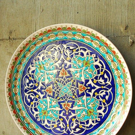 Vintage Turkish Hand Painted Plate El Hamara Kutahya by by vint