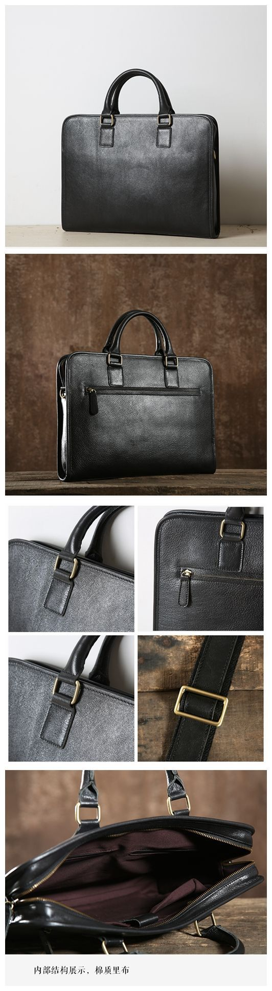 Black Leather Briefcase, Handmade Leather Bag, Business Bag GLT001