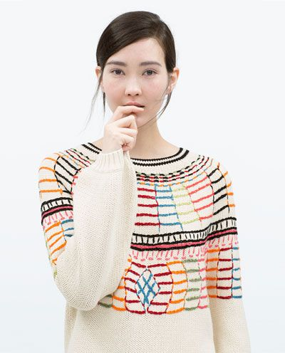 COLOURED EMBROIDERY SWEATER
