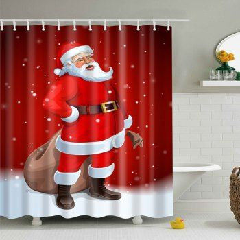 Merry Christmas Santa Claus Waterproof Bathroom Curtain