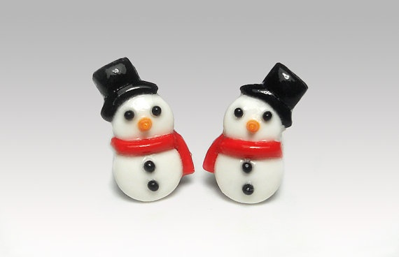 Snowman Earrings  Studs Polymer Clay  Cute by PixieHearts on Etsy, $22.50