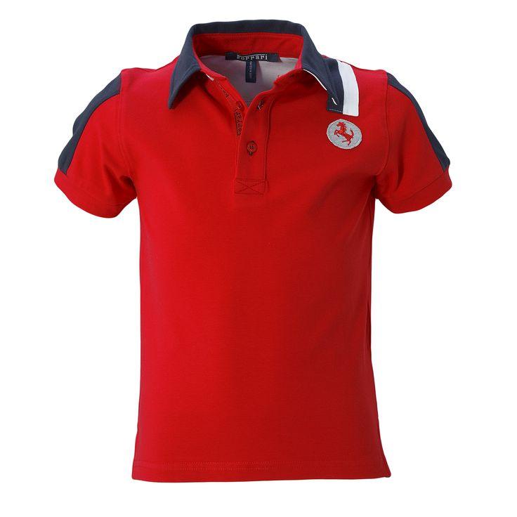Kid's Ferrari Polo Shirt #Ferrari #FerrariStore #Kids #Polo #Shirt #RossoFerrari #RedMaranello #Young #Fans #PrancingHorse #CavallinoRampante #Racing #Passion #Sporty #Style #Cotton #Red #Blue #White
