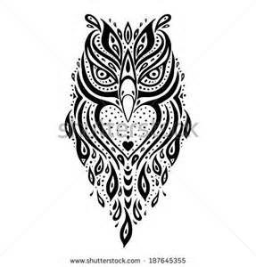 Owl. Tribal pattern. Polynesian tattoo. Vector illustration. - stock ...