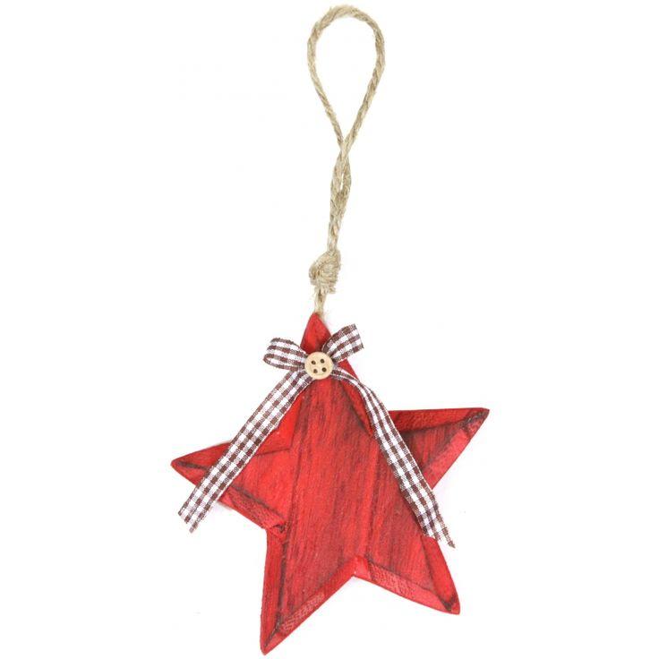 Rode houten ster hanger 11 cm  Houten kerstboomversiering in de vorm van een ster. Het rode houten sterretje is 11 x 11 cm groot en heeft een polyester strikje en ophangkoord aan de bovenzijde.  EUR 3.95  Meer informatie