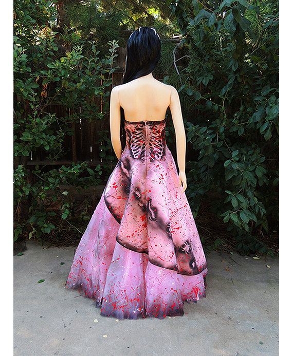 Deluxe Zombie Prom Queen Costume dress gown pink by GraveyardShift13 on Etsy