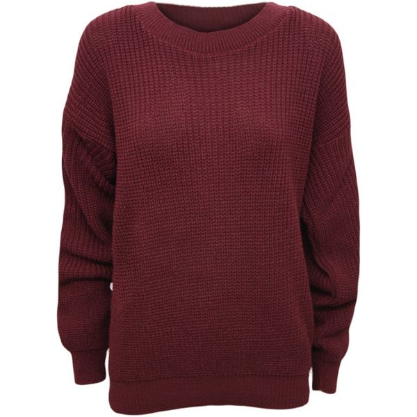 WearAll Florence Cable Knitted Jumper ($17) ❤ liked on Polyvore featuring tops, sweaters, shirts, long sleeves, sweatshirts, wine, cable jumper, red top, long sleeve shirts and long sleeve tops