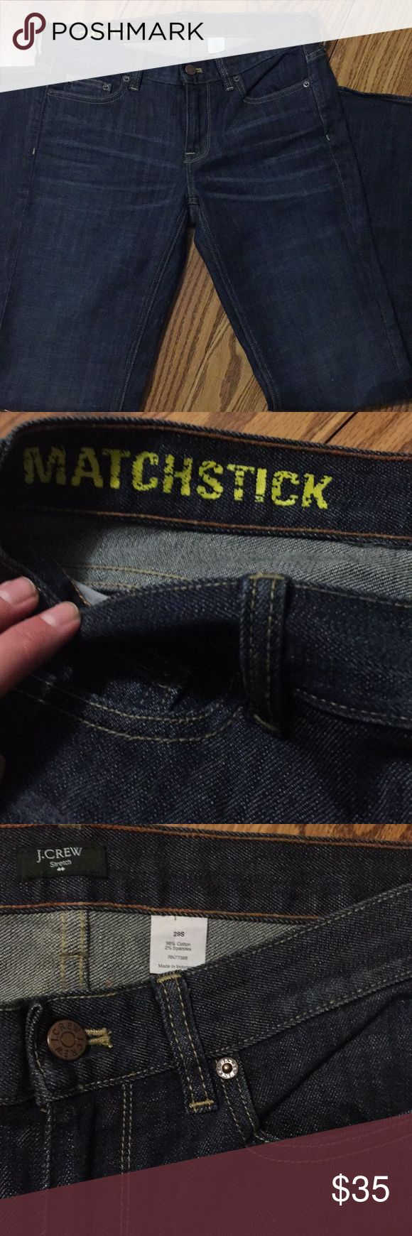 "J. Crew Factory Matchstick Jeans, size 29 short Excellent condition pair of J. Crew Factory jeans, matchstick style, size 29 short. In my opinion, these fit more like a 27 or 28 because they don't fit me right. Refer to measurements though (taken flat): Waist-15.5""; Inseam-29""; Rise-8"". Bottoms and crotch show no signs of wear. Gorgeous dark wash!! Note that I have a smoke free but not pet free home.   *Fast shipping! J. Crew Factory Jeans Straight Leg"