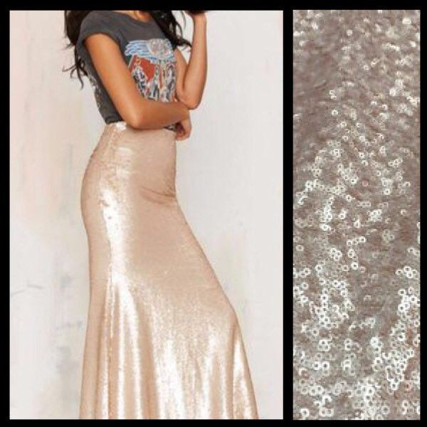 Matte Champagne Sequin Maxi Skirt ($75) ❤ liked on Polyvore featuring skirts, silver, women's clothing, stretchy maxi skirt, long skirts, stretch maxi skirt, long sequin skirt and silver sequin skirt