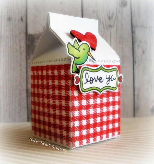 Lawn Fawn - Milk Carton die, Stitched Borders, Lobster ink, Gingham Backdrops, Gleeful Gardens, Flirty Frames, Wood Veneer heart