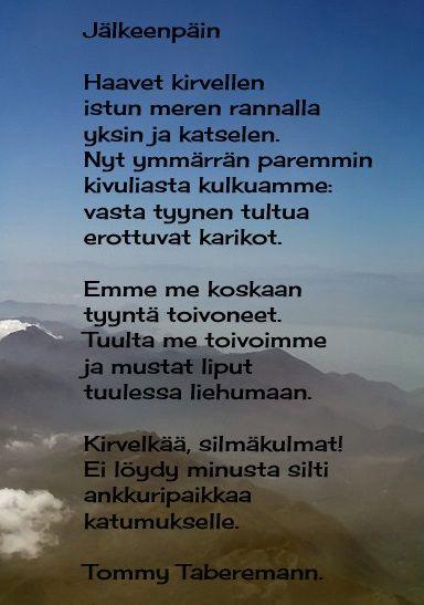Kuvahaun tulos haulle tommy tabermannin kauneimmat runot