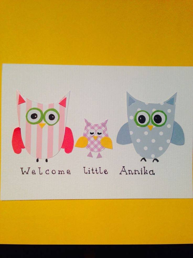 """""""Welcome baby"""" - greeting card  """"owls"""""""