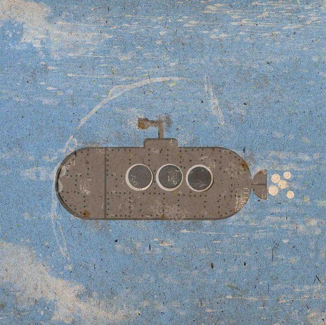 Prentje Maakt  Ooit zag ik op school een illustratie van een onderzeeër. Ik hou van de vorm van onderzeeërs, ik kan niet zo goed uitleggen waarom.  Ik gebruikte deze basisvorm om te oefenen met Illustrator en Photoshop; hoe maak ik het mooi 'oud' en blijft het daarnaast 'strak' maar toch ook niet helemaal perfect? Enfin, u begrijpt inmiddels wat ik bedoel.