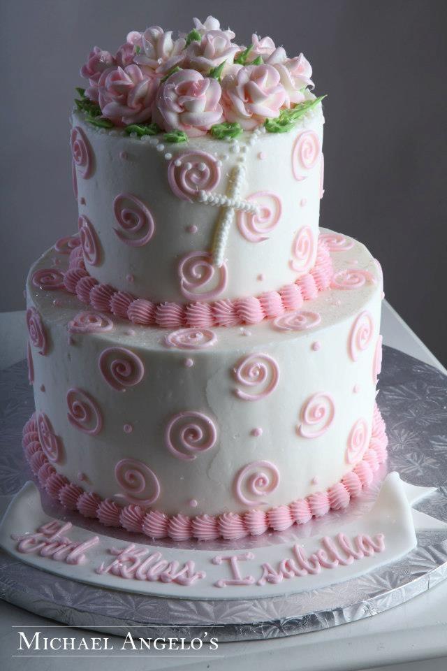 pretty pink baptism cake